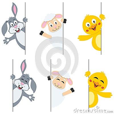Easter Animals Lurking Behind Banner