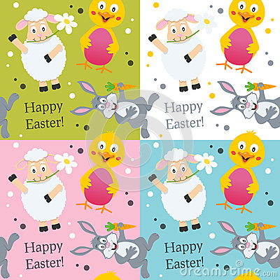 Easter Animals Seamless Pattern