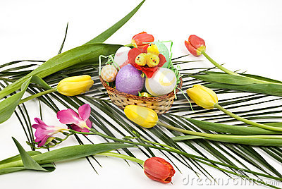 Easter arrangement with eggs and flowers spring