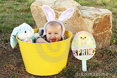 Easter baby with bunny ears