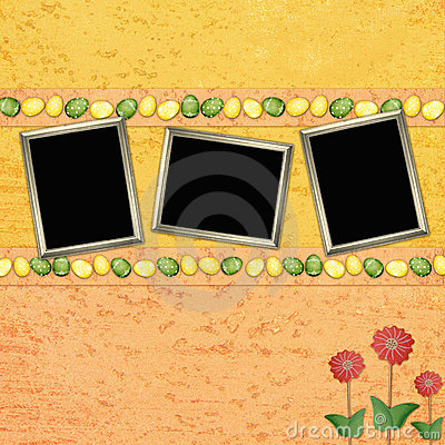 Easter background with color eggs and frames