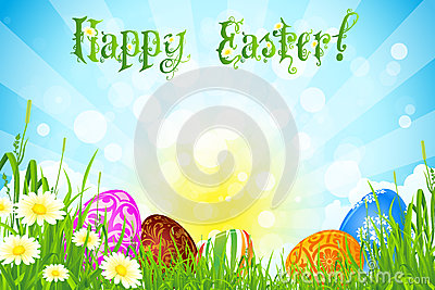 Easter Background with Decorated Easter Eggs