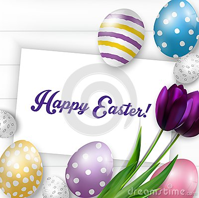 Free Easter Background With Colorful Eggs, Purple Tulips And Greeting Card Over White Wood Stock Photo - 66116200