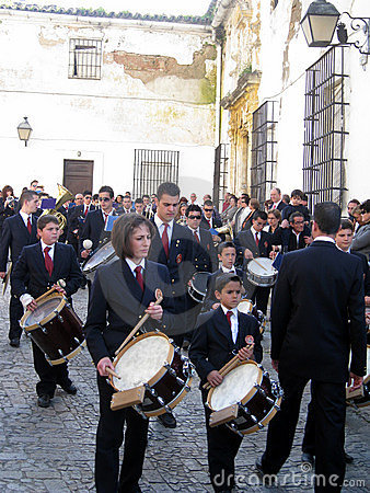 EASTER BAND MUSIC IN JEREZ, SPAIN Editorial Stock Image