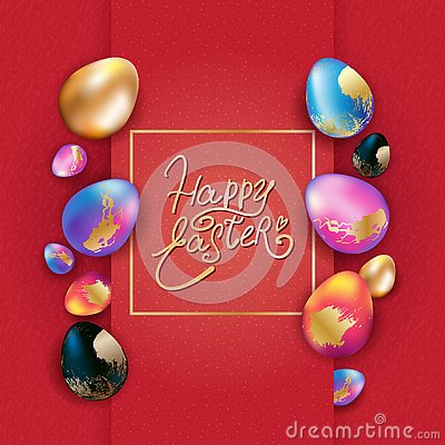 Easter banner design with colorful eggs Vector Illustration