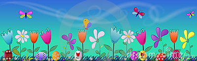 Easter banner with eggs and flowers