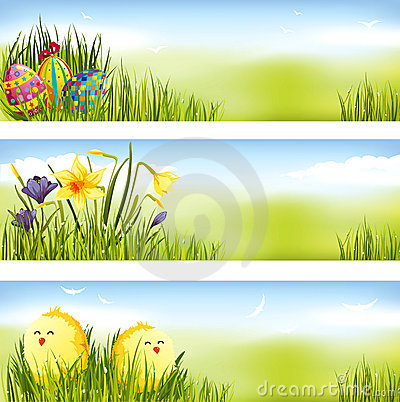 Free Easter Banner Set Royalty Free Stock Photography - 18033977