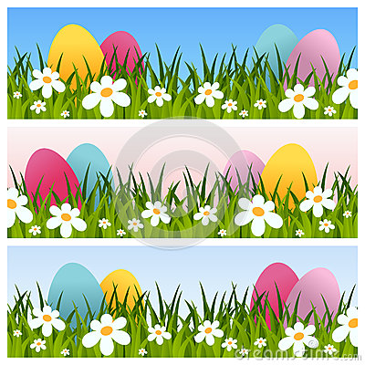 Free Easter Banners With Eggs And Flowers Stock Photos - 39040833