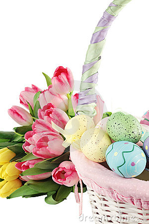 Free Easter Basket And Tulips Royalty Free Stock Image - 17943636