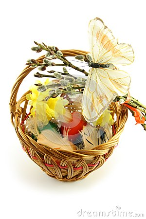 Easter basket with butterfly