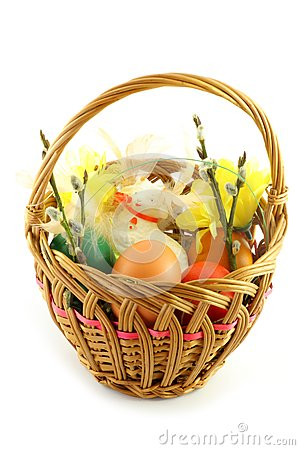 Easter basket, with  colored eggs and lamb