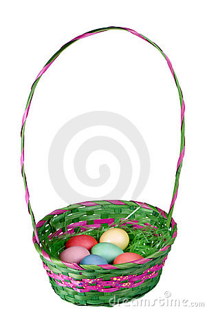 Easter Basket with Colorful Eggs Whole