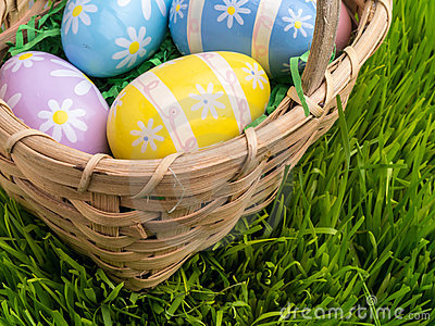 Easter Basket with Decorated Easter Eggs