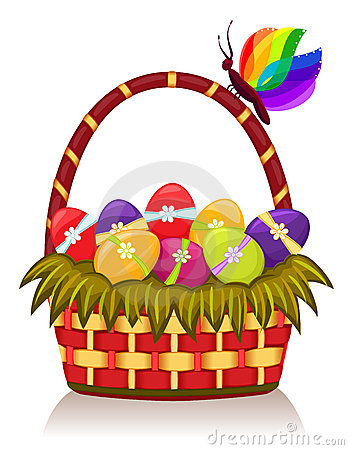 Easter Basket With Decorated Eggs Royalty Free Stock Photography - Image: 13163497