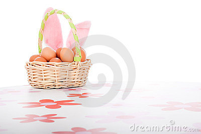 Easter basket with eggs decoration