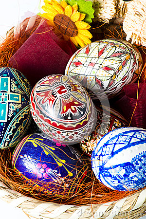 Easter basket with eggs macro
