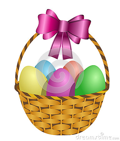 Free Easter Basket Filled With Colored Eggs Stock Photography - 28225142
