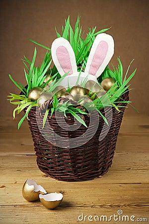 Easter basket, golden eggs.