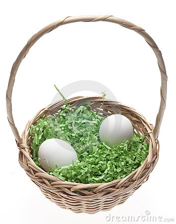 Easter Basket with Grass and Two White Eggs