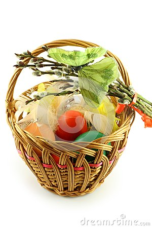 Easter basket with green butterfly