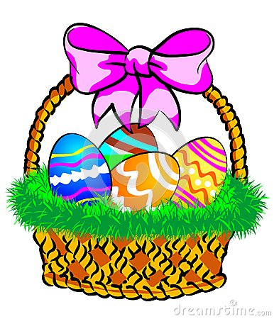 Free Easter Basket With A Pink Bow Royalty Free Stock Images - 29351899