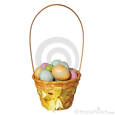 Free Easter Basket With Colorful Eggs Isolated Royalty Free Stock Images - 38543879