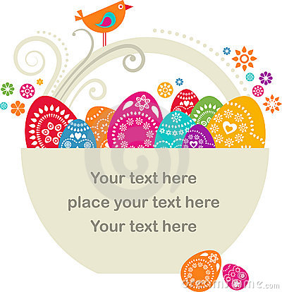 Free Easter Basket With Pianted Eggs Royalty Free Stock Photos - 13098208