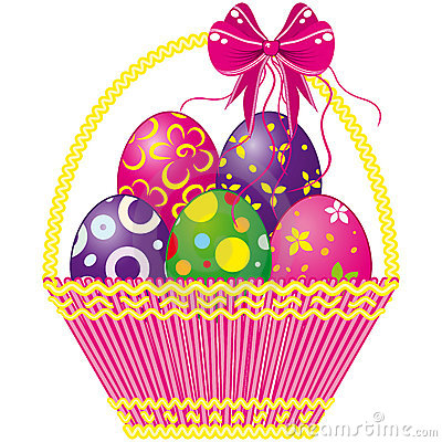 Free Easter Basket With Pink Bow And A Color Eggs Royalty Free Stock Images - 12664949