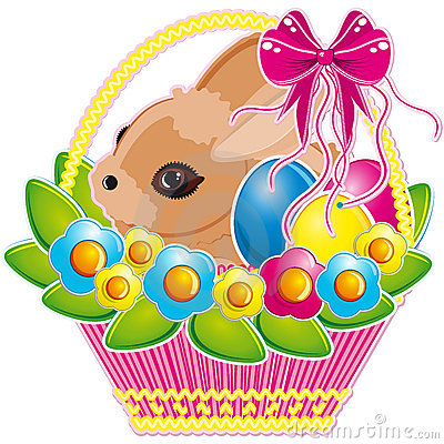 Free Easter Basket With Pink Bow And A Cute Bunny  Royalty Free Stock Photo - 13034945