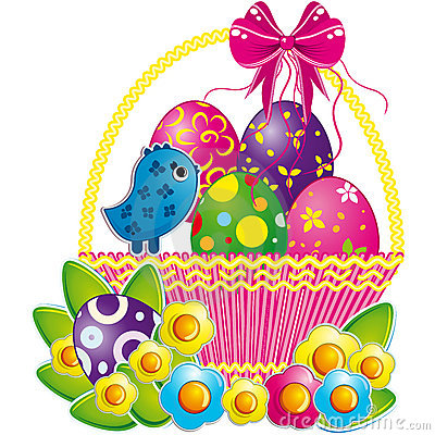 Free Easter Basket With Pink Bow And A Cute Chicken. Stock Image - 13034951