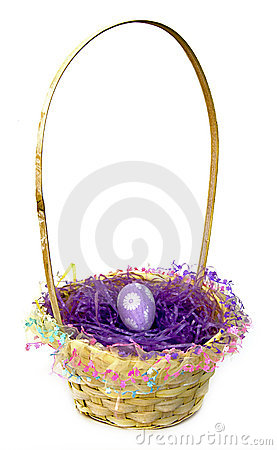 Free Easter Basket With Purple Egg Stock Photo - 8641720
