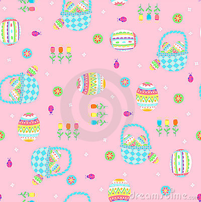 Easter Baskets Seamless Repeat Pattern