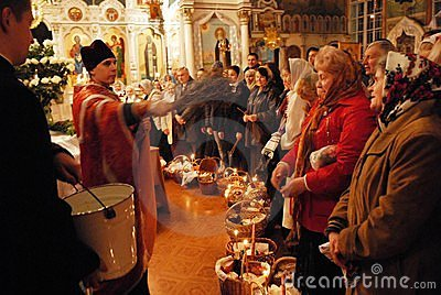 Easter. Blessing of holy water. Editorial Stock Image