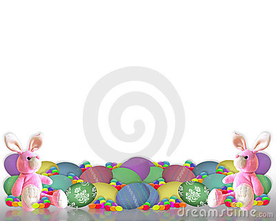 Easter Border Bunny eggs candy