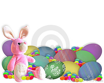 Easter Border Bunny Eggs Candy Royalty Free Stock Photos - Image: 8097398