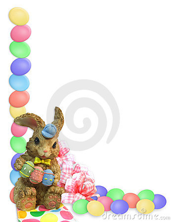 Easter Border eggs bunny