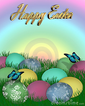 Easter Border Eggs in Grass 3D text