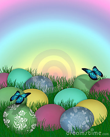 Easter Border Eggs In Grass Royalty Free Stock Images ...