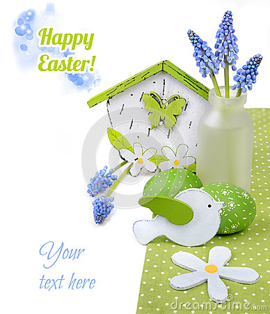 Free Easter Border With Blue Hyacinth And Green Decorations On White Royalty Free Stock Photography - 50267807