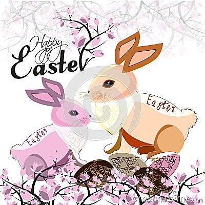 Easter bunnies Vector Illustration