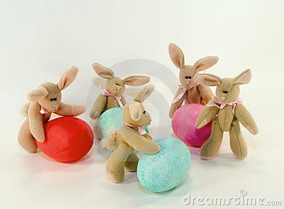 Easter bunnies and eggs.