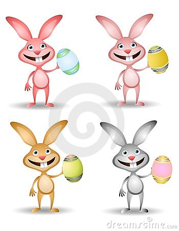 Easter Bunnies Holding Easter Eggs 2