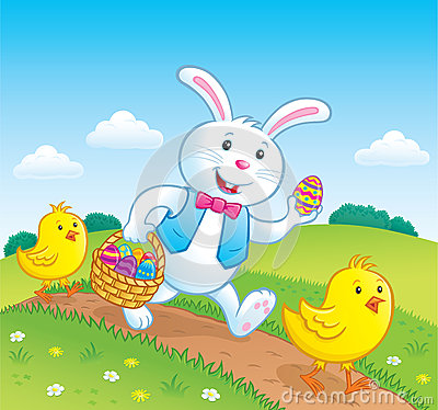 Free Easter Bunny And Baby Chicks On Trail Stock Photos - 68534513