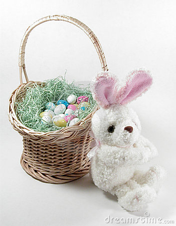 Easter Bunny And Basket 1 Royalty Free Stock Images - Image: 69379