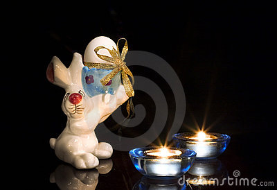 Easter bunny with candles