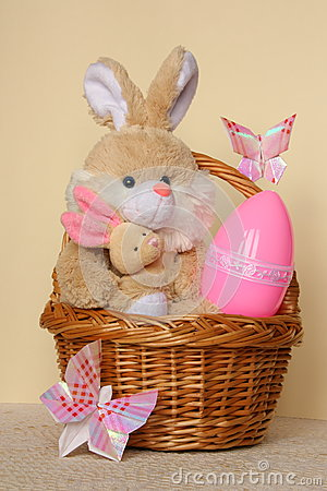 Easter Bunny -  Card , Egg in Basket - Stock Photo