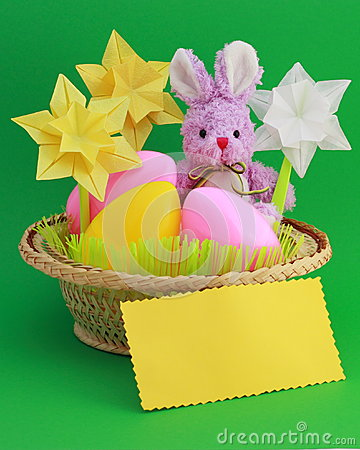 Easter Bunny -  Card , Eggs in Basket - Stock Photo
