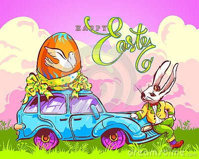 Easter Bunny Carries an Egg by Car Vector Illustration