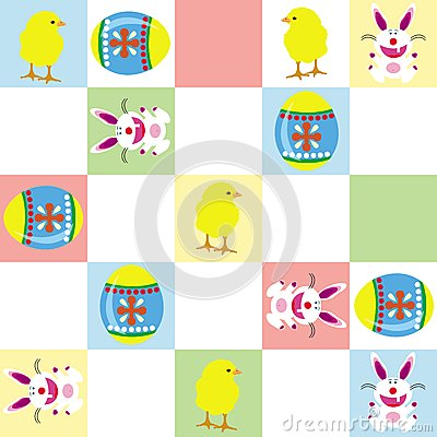 Easter bunny and chick pattern