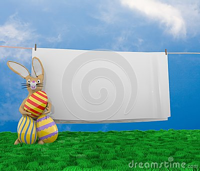 Easter bunny with clothesline